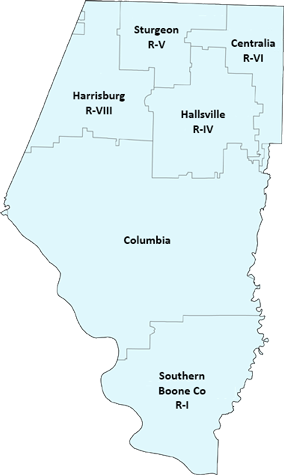 Map of Boone County School Districts