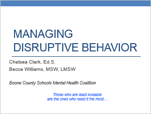 Understanding and Managing Disruptive Behavior for Secondary Teachers Title Slide